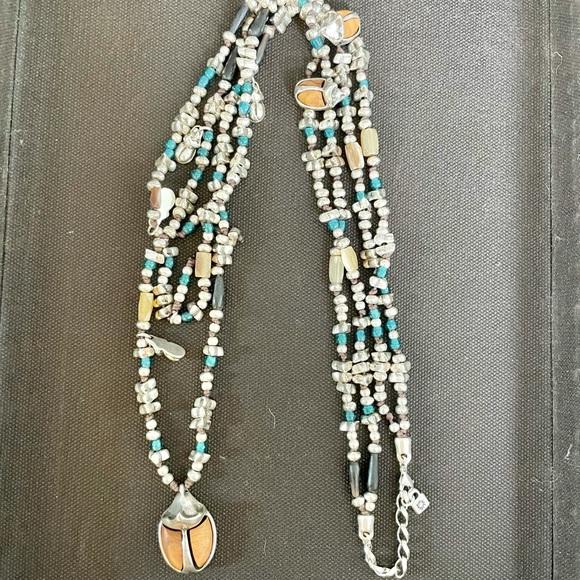Uno de 50 Double Stranded Scarab Beetle Necklace